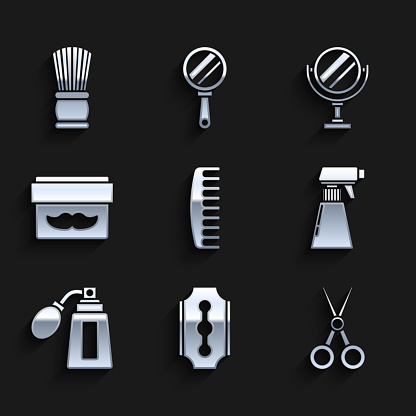 Set Hairbrush, Blade razor, Scissors hairdresser, Hairdresser pistol spray bottle, Aftershave with atomizer, Cream lotion cosmetic jar, Round makeup mirror and Shaving icon. Vector