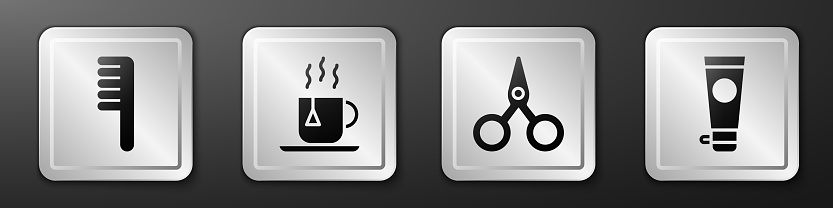 Set Hairbrush, Cup of tea with tea bag, Scissors and Cream or lotion cosmetic tube icon. Silver square button. Vector
