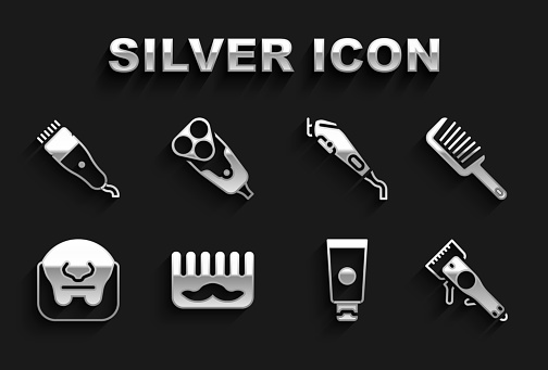 Set Hairbrush, Electrical hair clipper, Cream cosmetic tube, Mustache and beard, and razor blade icon. Vector
