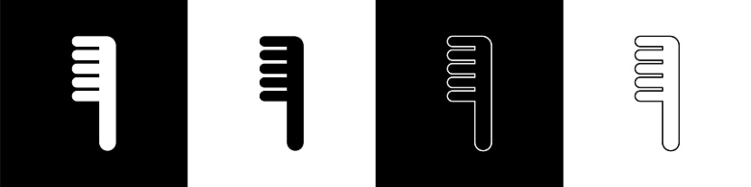 Set Hairbrush icon isolated on black and white background. Comb hair sign. Barber symbol. Vector Illustration