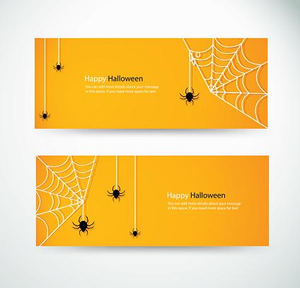 set halloween spider and wab for website headers banner designs vector illustration eps10
