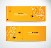set halloween spider and wab for website headers banner designs vector illustration eps10