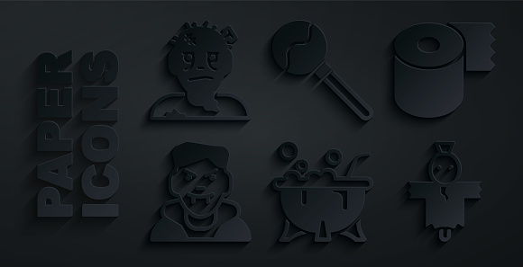 Set Halloween witch cauldron, Toilet paper roll, Vampire, Scarecrow, Lollipop and Zombie mask icon. Vector