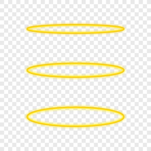 illustrazioni stock, clip art, cartoni animati e icone di tendenza di set halo angel ring . holy golden nimbus circle isolated on transparent background. vector illustration. - aureola