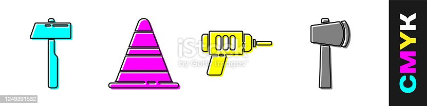 Set Hammer, Traffic cone, Electric drill machine and Wooden axe icon. Vector