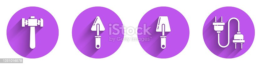 Set Hammer, Trowel, Trowel and Electric plug icon with long shadow. Vector