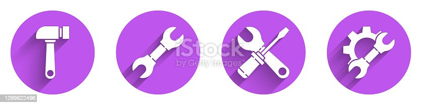 Set Hammer, Wrench spanner, Screwdriver and wrench spanner and Wrench spanner and gear icon with long shadow. Vector