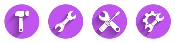 ilustrações de stock, clip art, desenhos animados e ícones de set hammer, wrench spanner, screwdriver and wrench spanner and wrench spanner and gear icon with long shadow. vector - ucrânia