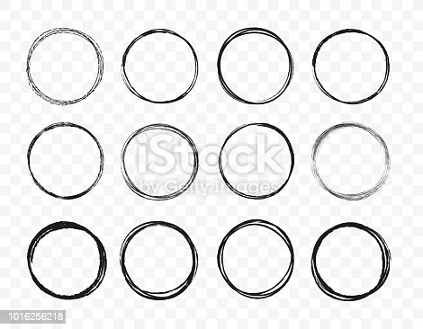 Set hand drawn circle line sketch set. Circular scribble doodle round circles for message note mark design element. Vector illustration on green background