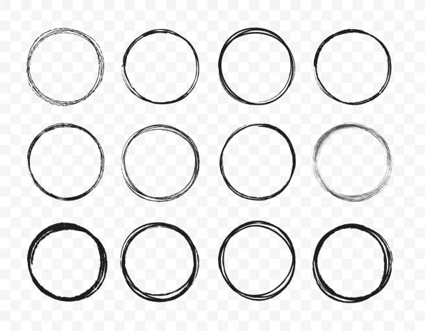 set hand drawn circle line sketch set. circular scribble doodle round circles for message note mark design element. vector illustration on background. - szkic rysunek stock illustrations