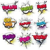 whee cool kapow pop set hand drawn pictures effects template comics speech bubble halftone dot background pop art style. Comic dialog cloud, text pop-art. Idea conversation sketch explosion.