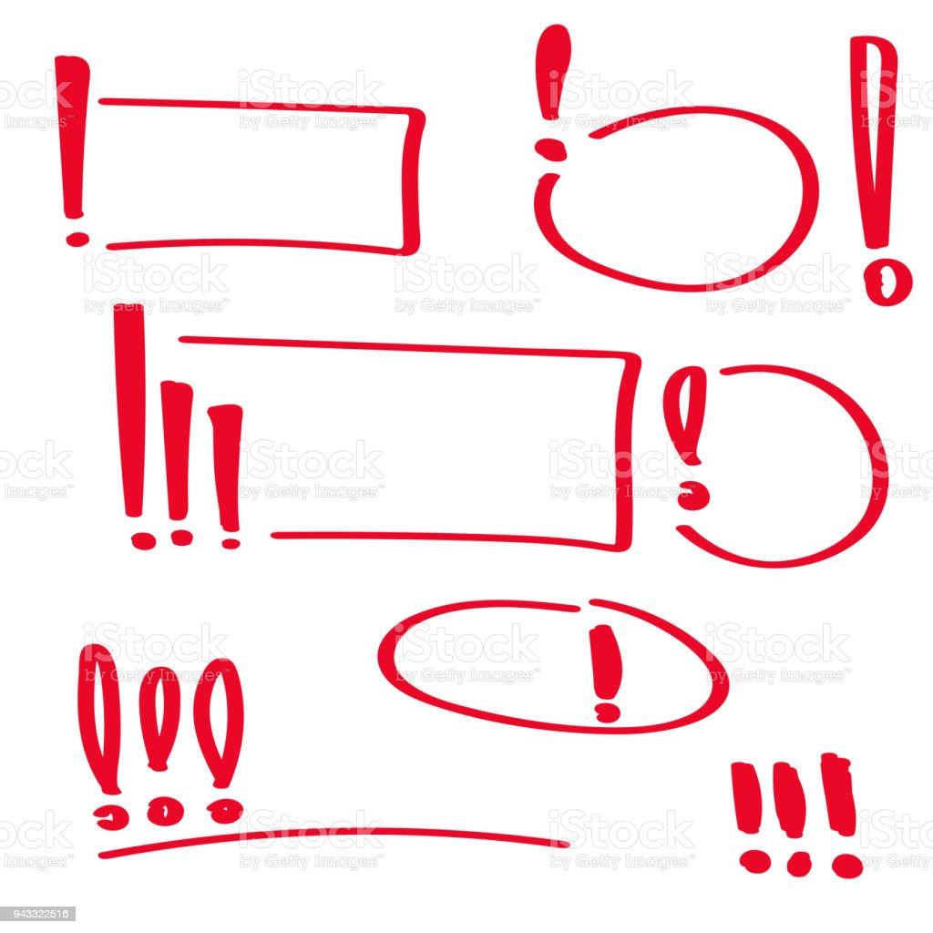 Eingestellten Hand gezeichnete Ausrufezeichen. – Vektorgrafik