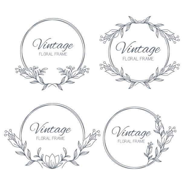 ●手描きのフローラルフレームをセット。結婚式のための葉と花の花輪。デザインのための装飾的な要素。ベクトルイラストレーション - ボタニカル点のイラスト素材/クリップアート素材/マンガ素材/アイコン素材