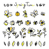 Set hand drawn floral, leaves and Insects elements. Spring collection. Cute collection of design elements, isolated on white background. Doodle floral elements