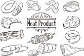 Set hand drawn monochrome icon meat