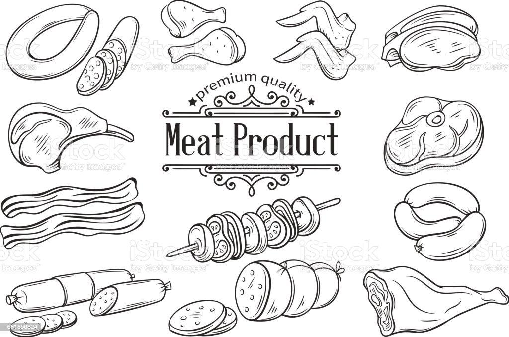 Configurar icono monocromo dibujado mano carne - ilustración de arte vectorial
