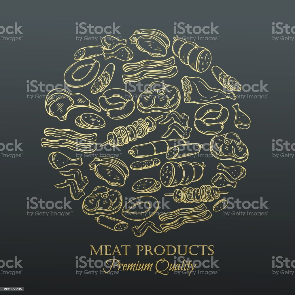 Set hand drawn monochrome icon meat vector art illustration