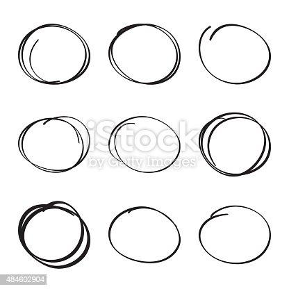 istock Set hand drawn ovals, felt-tip pen circles 484602904