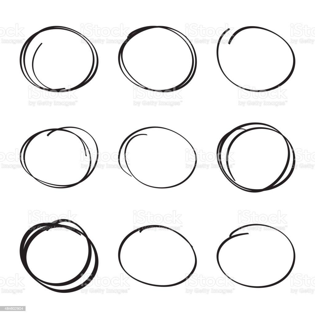 Set hand drawn ovals, felt-tip pen circles vector art illustration