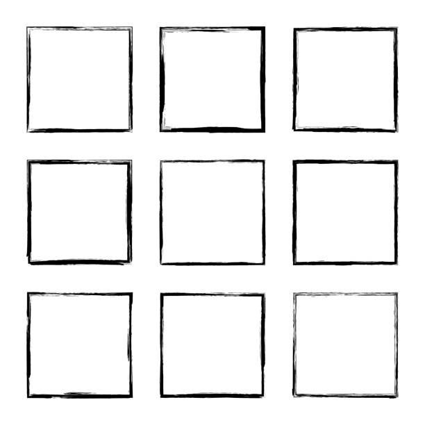 Set hand drawn rectangle frame. Set hand drawn square frame. Text box from smears. Vector Black stroke border felt-tip pen objects. square shape stock illustrations