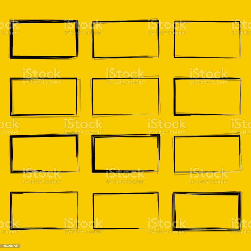 Set hand drawn rectangle vector art illustration