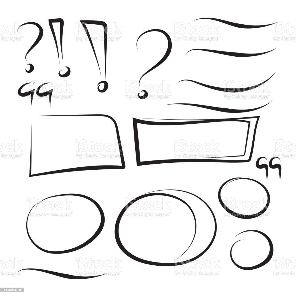 Set hand drawn rectangle. vector art illustration