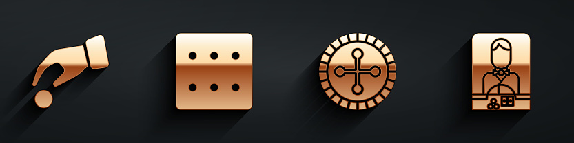 Set Hand holding casino chips, Game dice, Casino roulette wheel and Casino dealer icon with long shadow. Vector