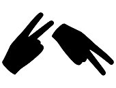Set Hand in glove with two extended fingers. Sign. Vector linear silhouette illustration.