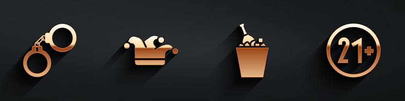 Set Handcuffs, Joker playing card, Champagne in an ice bucket and 21 plus icon with long shadow. Vector