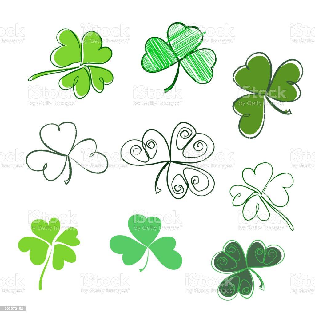 Conjunto trevo desenhados à mão em cores verdes. Três e quatro folhas, silhuetas, doodle, estilizado. Dia de São Patrício - ilustração de arte em vetor