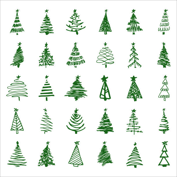 set hand drawn sketch christmas and new year tree vector art illustration