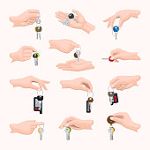 Set hands with keys. Various types of keys in hands. Different shape, size, design, color, number, combination of keys in people's hands. Diverse fingers holding keys. White background. Vector