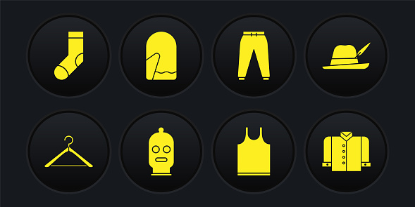 Set Hanger wardrobe, Oktoberfest hat, Balaclava, Sleeveless T-shirt, Sport pants, Christmas mitten, and Socks icon. Vector