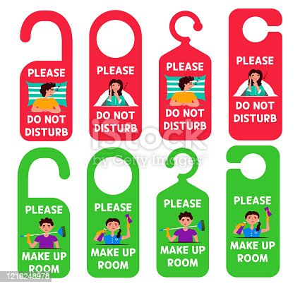 istock Set hangers tags not to disturb you need to clean the room. 1216248978