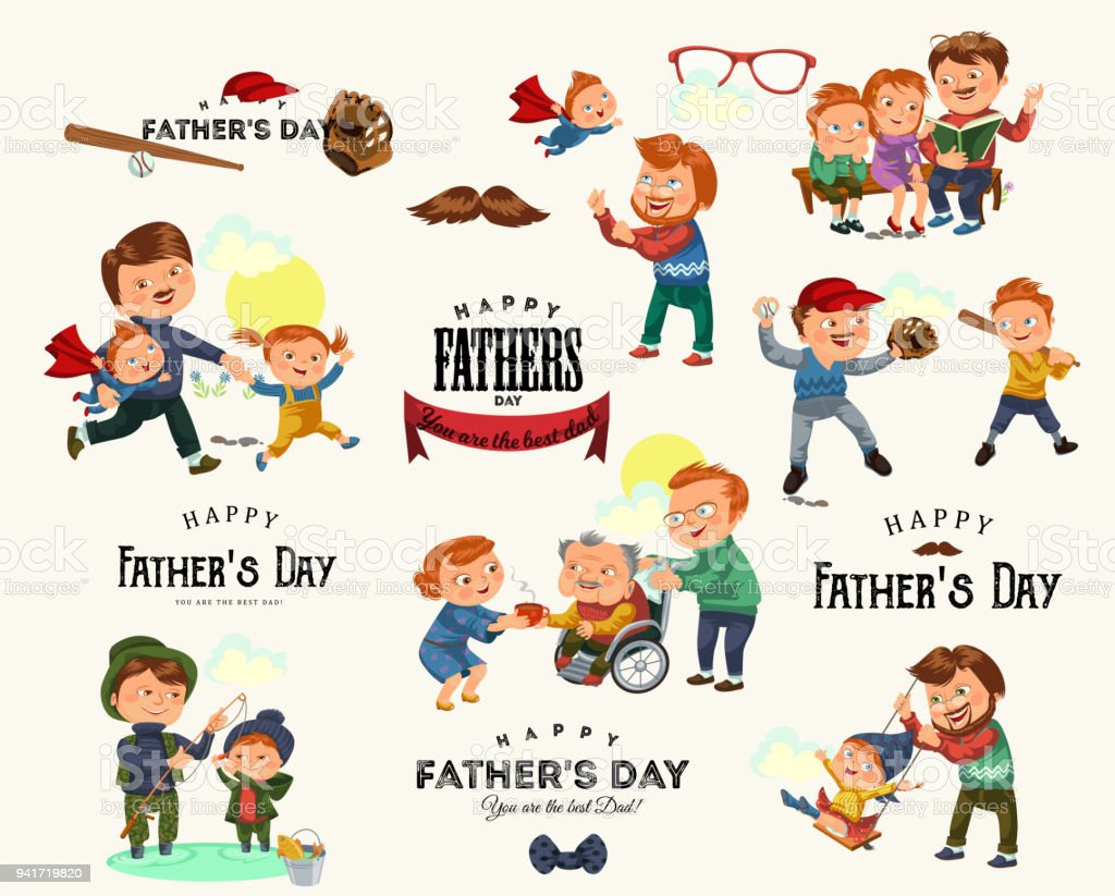 Set Happy Fathers Day Greeting Card Dad Fun With Kids Parent Of
