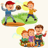 Set happy fathers day greeting card, dad fun with kids, read book for childrens in park bench, reading fairy tales family vacation, daddy playing son baseball, boy player hold bat vector illustration