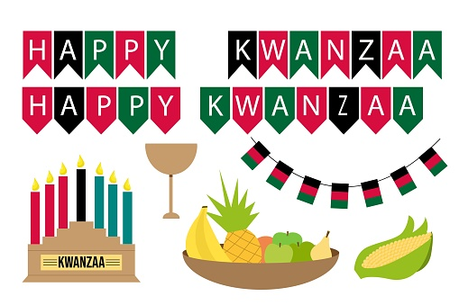 Set happy kwanzaa. Fruit bowl - bananas, pineapple, apples, orange, pear. Corn. A bowl of abundance. Flags, Card for celebration decoration design. kwanzaa candles on light background. Vector design.