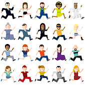 Vector Illustration of a Set with Happy Running People Cartoon