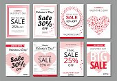 Set Happy Valentine's Day banners, posters, cards or flyers. Vector illustration