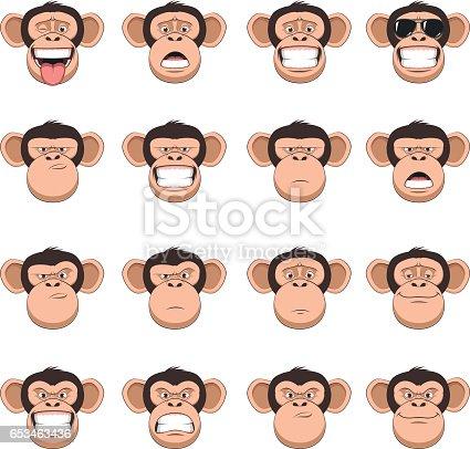 istock Set head monkey 653463436