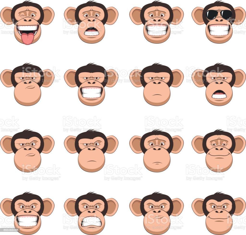 セット頭の猿 ベクターアートイラスト