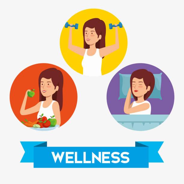 setzen sie gesundheit frau auf lifestyle-gleichgewicht - karotte peace stock-grafiken, -clipart, -cartoons und -symbole