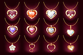 Set of 12 Necklace with a heart pendant on a gold chain. With precious stones and diamonds in gold. Decoration for women. Isolated on a dark background. Vector illustration