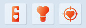 istock Set Heart shape in a light bulb, Please do not disturb with heart and Heart in the center of darts target aim. White square button. Vector 1263439008