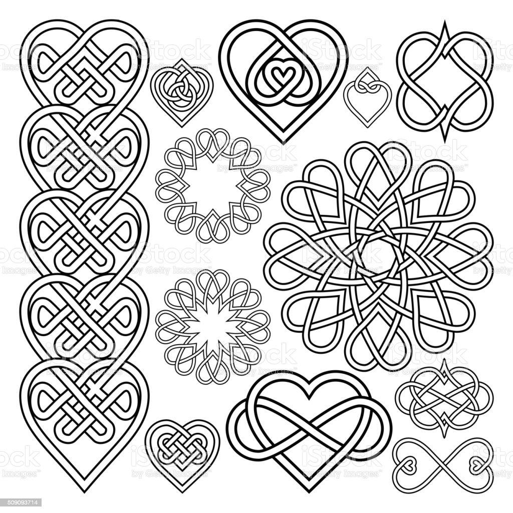 Die Keltische Knoten Mit Herz Ineinander Verschlungen Stock Vektor