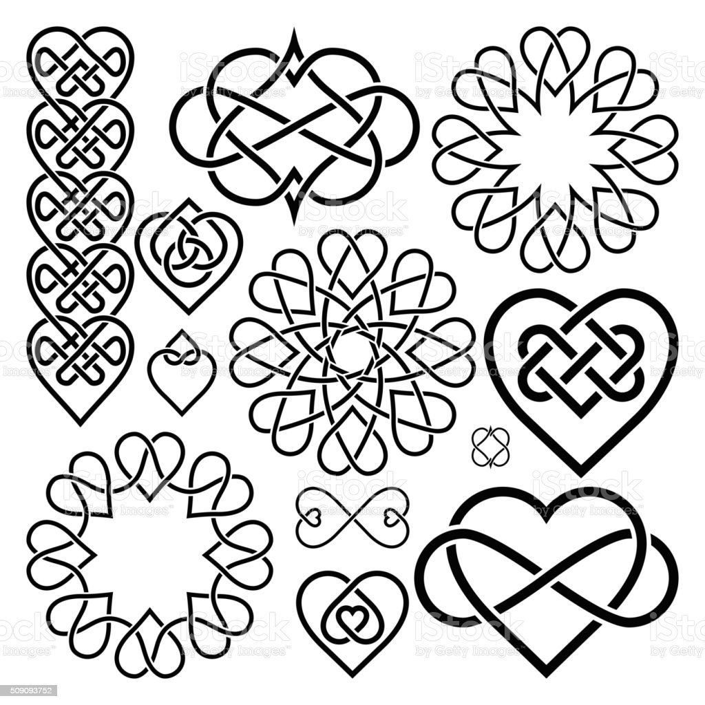 Set Hearts Intertwined in Celtic Knot vector art illustration