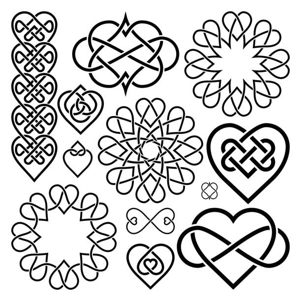 Set Hearts Intertwined in Celtic Knot Set Hearts Intertwined in Celtic Knot. Twelve Items celtic knot stock illustrations