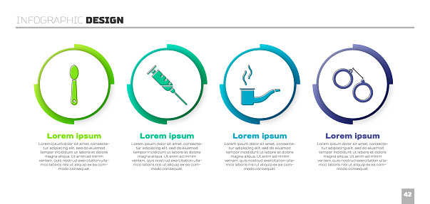 Set Heroin in a spoon, Syringe, Smoking pipe and Handcuffs. Business infographic template. Vector