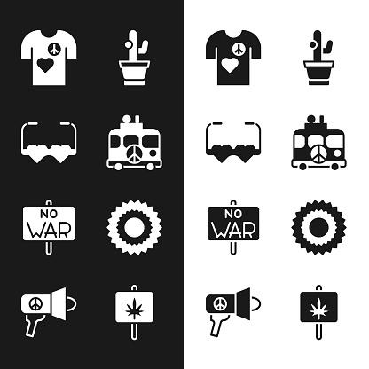 Set Hippie camper van, Heart shaped love glasses, Peace t-shirt print stamp, Cactus, No war, Sun, Marijuana and Megaphone icon. Vector