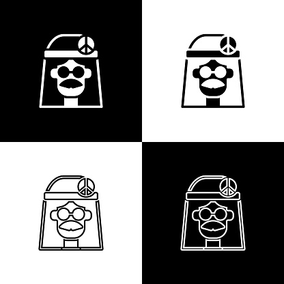 Set Hippie girl icon isolated on black and white background. Peace and love sign. Symbol pacificism freedom and love. Vector
